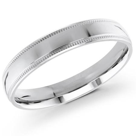 Men's 4 MM milgrain edge dome comfort fit white gold band (MDVB0128) - #J-103-420G