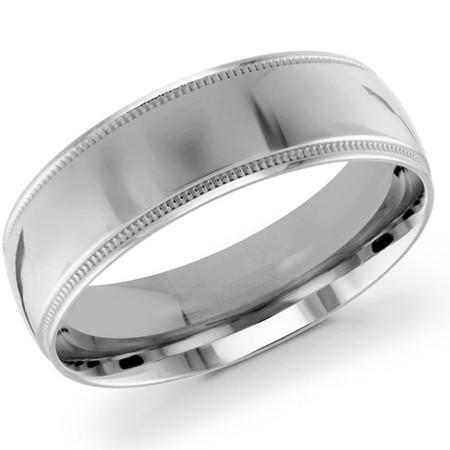 Men's 7 MM milgrain edge dome comfort fit white gold band (MDVB0137) - #J-103-720G