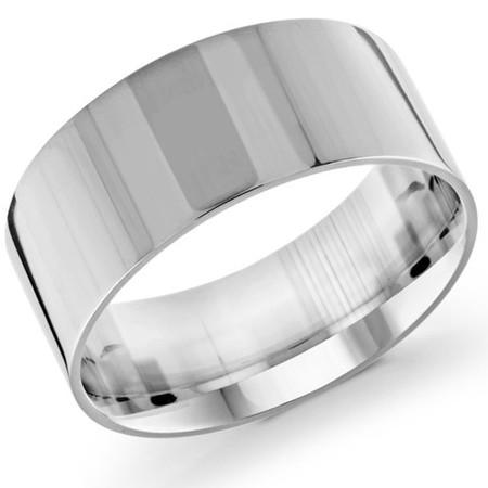 Men's 10 MM flat comfort fit white gold band (MDVB0146) - #J-105-020G