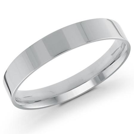 Men's 4 MM flat comfort fit white gold band (MDVB0155) - #J-105-420G