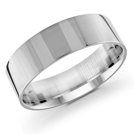 Men's 7 MM flat comfort fit white gold band (MDVB0164) - #J-105-720G
