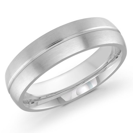 Men's 6 MM white gold satin finish dome band with center groove (MDVB0180) - #J-531-620G