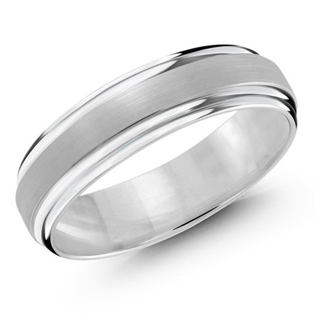 Men's 6 MM all white gold domed band with satin center and high polished edges (MDVB0181) - #JM-058-6WG