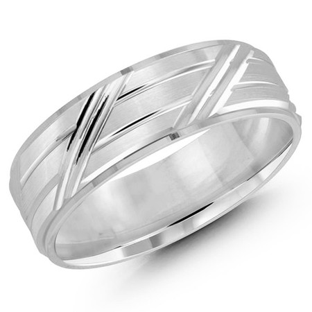 Men's 7 MM all white gold band with grooved center with angled detailing (MDVB0187) - #JM-1054-7WG
