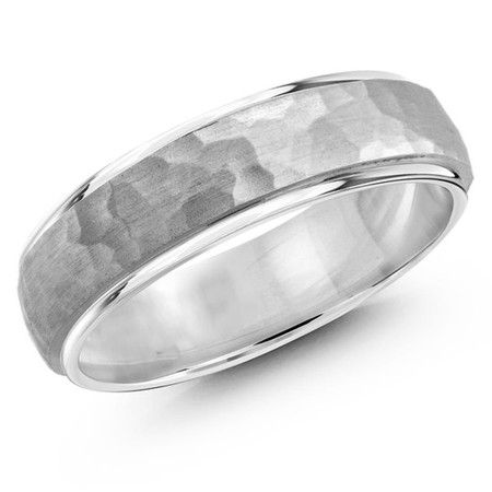 Men's 7 MM all white gold band with satin hammered center and high polish edges (MDVB0190) - #JM-1070-7WG