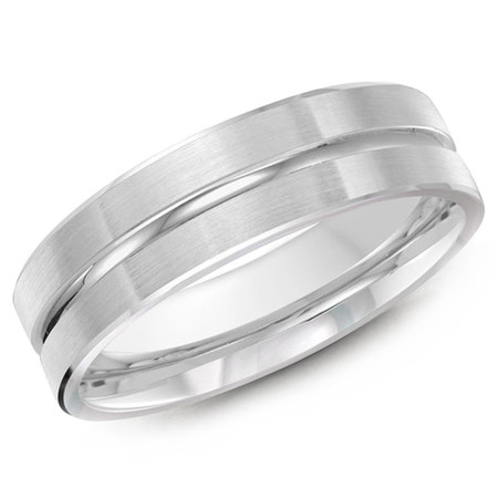 Men's 6 MM all white gold satin finish band with a high polish center strip (MDVB0231) - #JM-117-6WG