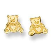 Teddy Bear Stud Baby Earrings in 14K Yellow Gold - #AD-070