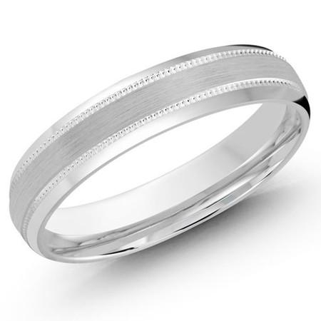 4 MM all white  milgrain satin finish band with high polish beveled edges (MDVB0260) - #JM-413-4WL