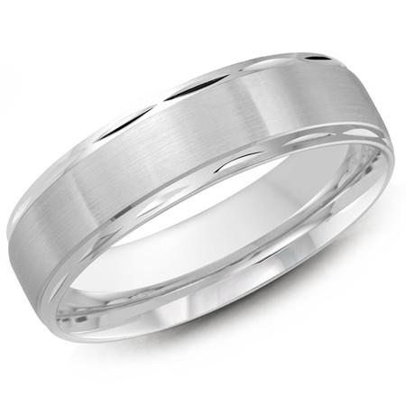 Men's 6 MM all white gold satin finish center band with high polish faceted edges (MDVB0294) - #JM-674-6WG