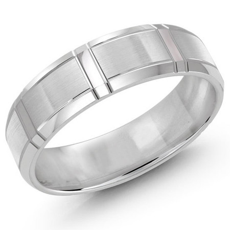 Men's 6 MM all white gold satin finish band with wrap around vertical strips (MDVB0301) - #JM-699-6WG