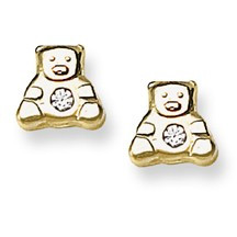 CZ Accent Teddy Bear Stud Baby Earrings in 14K Yellow Gold - #AD-082