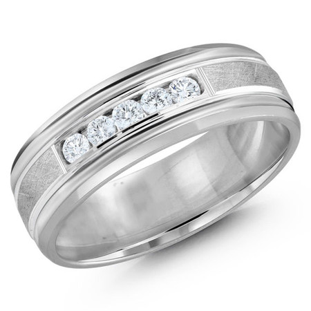Men's 7 MM all white gold band with scratch center, embellished with 5 X .05 CT diamonds (MDVB0340) - #JMD-471-7W25