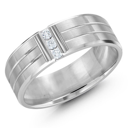Men's 7 MM all white gold band with horizontal and vertical grooves set with 3 X .033 CT diamonds (MDVB0343) - #JMD-500-7WG