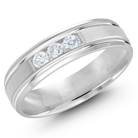 Men's 6 MM all white gold satin center band, embellished with 3 X .07 CT diamonds (MDVB0350) - #JMD-520-6WG