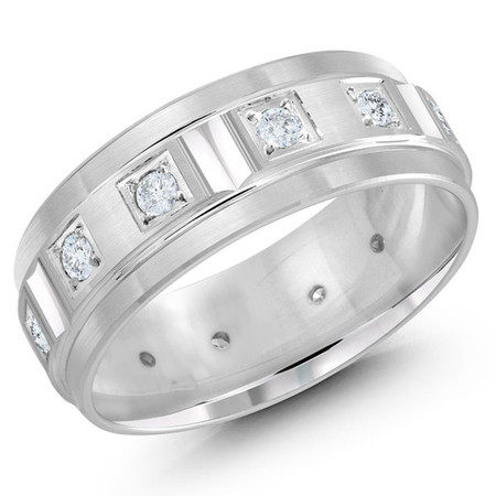 Men's 8 MM all white gold band with milgrain accents, embellished with 12 X .04 CT diamonds (MDVB0364) - #JMD-826-8WG