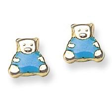 Blue Enamel Teddy Bear Stud Baby Earrings in 14K Yellow Gold - #AD-097