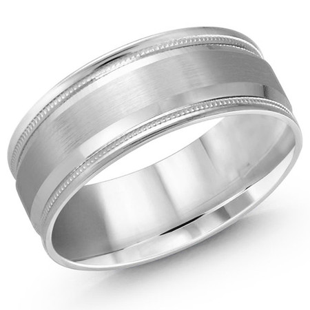 Men's 8 MM all white gold band with satin center, high polish edging with milgrain detailing (MDVB0390) - #LCF-032W