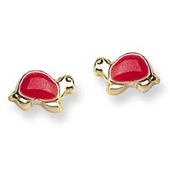 Red Enamel Turtle Stud Baby Earrings in 14K Yellow Gold - #AD-098