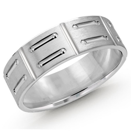 Men's 6 MM all white gold satin finish band with shoe lace motif center (MDVB0412) - #LCF-1088