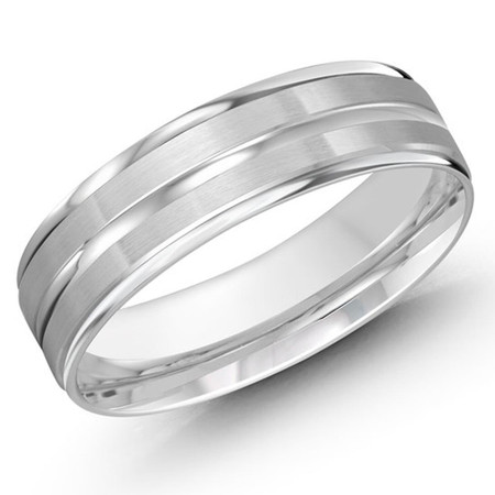 Men's 6 MM all white gold dual sectioned satin finish band (MDVB0420) - #LCF-1109