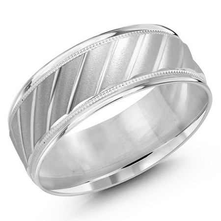 Men's 8 MM all white gold band with adiagonal cut satin center (MDVB0432) - #LCF-1161