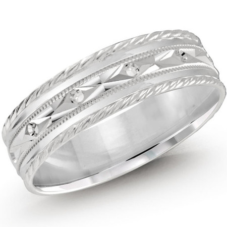 Men's 6 MM all white gold full diamond cut band with diamond simili accents (MDVB0448) - #LCF-359W