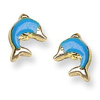 Blue Enamel Dolphin Stud Baby Earrings in 14K Yellow Gold - #AD-095
