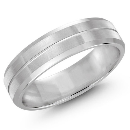 Men's 6 MM all white gold satin finish band with single grooved center (MDVB0482) - #LCF-697