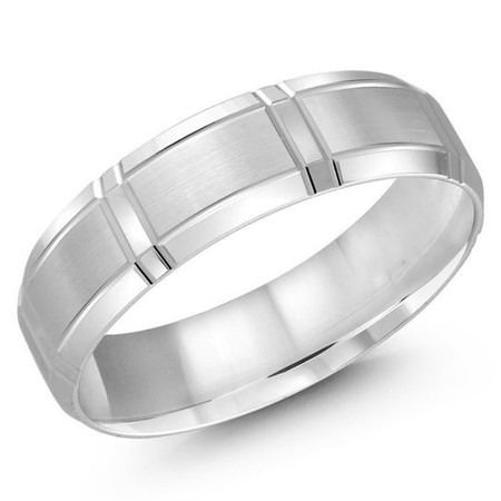 Men's 6 MM all white gold satin finish band with wrap around vertical strips (MDVB0487) - #LCF-699