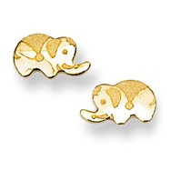 Baby Elephant Stud Baby Earrings in 14K Yellow Gold - #AD-074