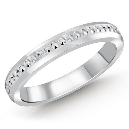 3 MM dot design white gold  matching band (MDVB0496) - #MBJ-004W