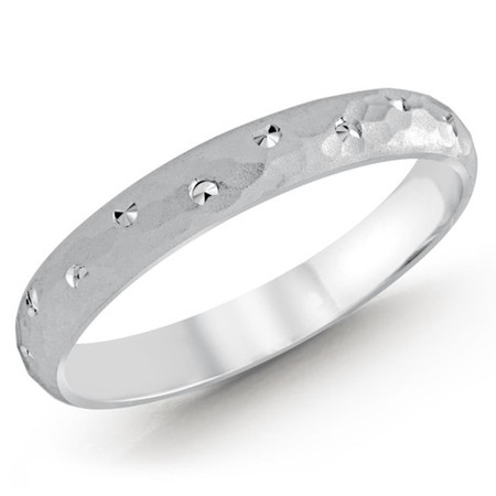 3 MM dot design white gold matching band (MDVB0508) - #MBJ-012W