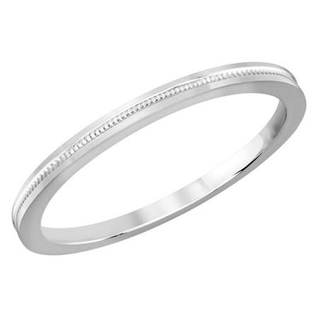 2 MM dot design white gold matching band (MDVB0514) - #MBJ-016W