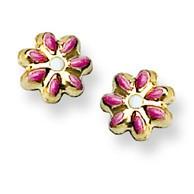Pink Enamel Flower Stud Baby Earrings in 14K Yellow Gold - #AD-148
