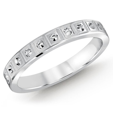 3 MM white gold dot deign matching band (MDVB0538) - #MBJ-025W