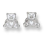 Teddy Bear Stud Baby Earrings in 14K White Gold - #AD-070W