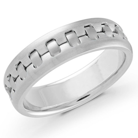 Men's 6 MM all white gold intertwined satin finish band (MDVB0560) - #MRD-024W
