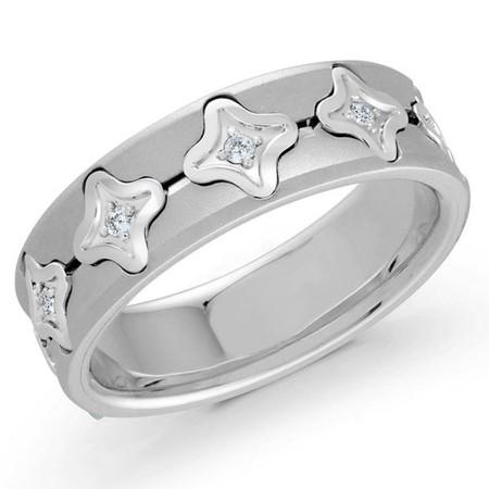 Men's 7 MM all white gold quatrefoil motif center band embellished with 10 X .02 CT diamonds (MDVB0586) - #MRD-041W