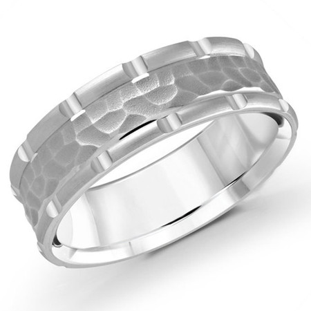 Men's 7 MM all white gold band with leopard motif center (MDVB0621) - #MRD-047-7WG