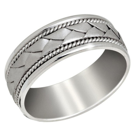 Men's 8 MM all white gold band with braided center and milgrain detailing (MDVB0648) - #P-027C