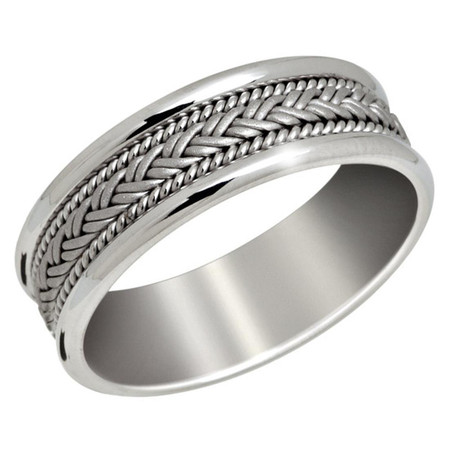 Men's 7 MM all white gold band with weaved center and milgrain detail (MDVB0650) - #P-030C