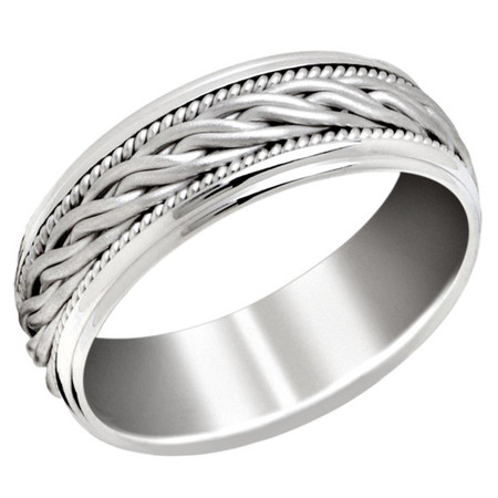 Men's 8 MM all white gold band with braided center and milgrain detailing (MDVB0652) - #P-034