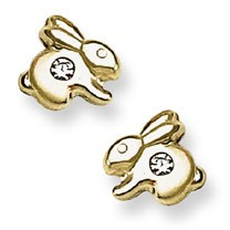 CZ Accent Bunny Rabbit Stud Baby Earrings in 14K Yellow Gold - #AD-083