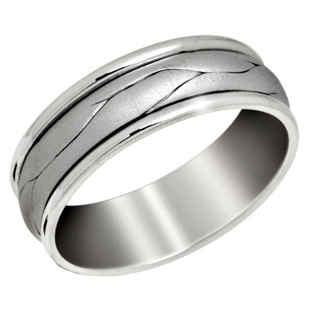 Men's 7 MM all white gold band with weaved center    (MDVB0654) - #P-043