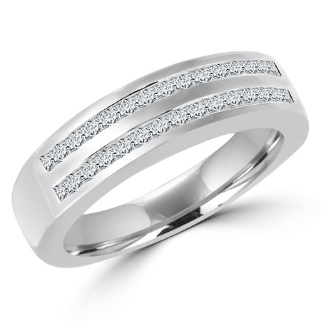 Princess Cut Diamond Multi-Stone Channel-Set Wedding Band Ring in White Gold - #HR3527-W