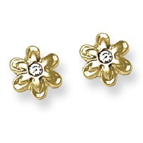CZ Accent Flower Stud Baby Earrings in 14K Yellow Gold - #AD-046