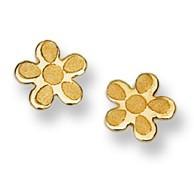 Flower Motif Stud Baby Earrings in 14K Yellow Gold - #AD-071