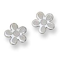 Flower Motif Stud Baby Earrings in 14K White Gold - #AD-071W