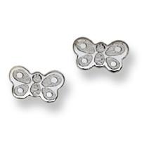 Butterfly Stud Baby Earrings in 14K White Gold - #AD-072W
