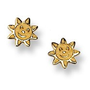 Smiling Sunshine Stud Baby Earrings in 14K Yellow Gold - #AD-075